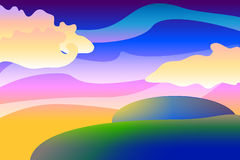 Cartoon landscape  background, colorful illustration with spheres and clouds,  wallpapers Royalty Free Stock Photography