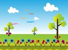 Cartoon landscape background. Illustration Royalty Free Stock Photography