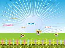 Cartoon landscape background. Illustration Stock Image