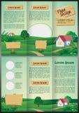 Cartoon landscape Brochure - trifold template design Stock Photography