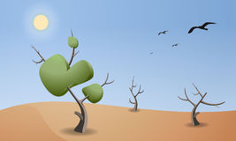 Cartoon landscape of desert for game design. Horizontal nature background at noon. Dry trees with leaves and branches. Sun and birds on the sky Stock Photo