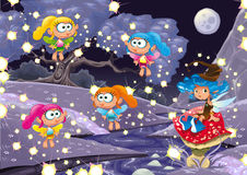 Cartoon landscape with fairies. Royalty Free Stock Photography