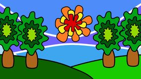 Cartoon landscape with green hills, trees and the sun. Travel and tourism. Dynamic graphics.