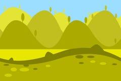 Cartoon Landscape of Green Meadows, Fields, Hills Stock Image