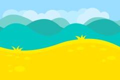 Cartoon Landscape of Green Meadows, Fields, Hills Royalty Free Stock Photos