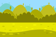 Cartoon Landscape of Green Meadows, Hills and Royalty Free Stock Images