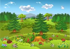 Cartoon landscape with hills, mountains, forests, flowers and fir trees. Cartoon landscape with hills, mountains, forests, lots of colorful flowers and fir trees Stock Images
