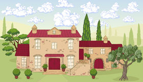 Cartoon landscape with house, trees and clouds. Stock Image