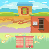 Cartoon landscape with houses, windows, clouds and sky Stock Image