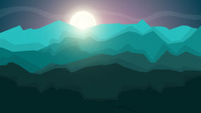 Cartoon landscape illustration. SCartoon landscape illustration. Sun. cloud, mountain, hill. Stock Photography