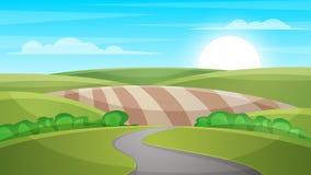 Cartoon landscape illustration. Sun. cloud, hill. Royalty Free Stock Photography