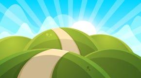 Cartoon landscape illustration. Sun. cloud, hill. Royalty Free Stock Photo