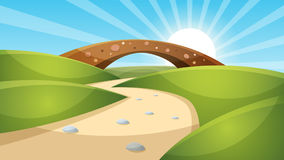 Cartoon landscape illustration. Sun. cloud, mountain, hill. Royalty Free Stock Photos