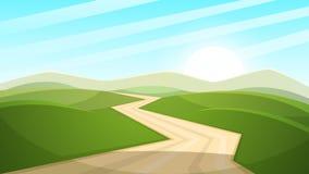Cartoon landscape illustration. Sun. road, cloud, hill. Royalty Free Stock Photo