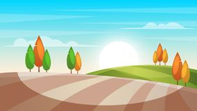 Cartoon landscape illustration. Tree, sun, field. Royalty Free Stock Images