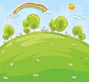 Cartoon landscape. Imitation of a child's drawing royalty free illustration