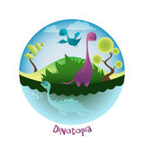 Cartoon landscape with lovely Dinosaurs. Dinotopia and Dino. Royalty Free Stock Image