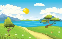 Cartoon landscape. Mountains, sea or lake, trees and dirt road. Blue sky with clouds and sun. Vector Illustration. Stock Photo