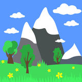 Cartoon Landscape with Mountains. Vector Illustration Stock Images