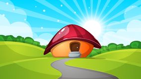 Cartoon landscape with mushroom house. Sun, cloud, road - illustration. Vector eps 10 Royalty Free Stock Image