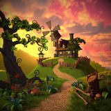 Cartoon landscape with a picture of a house and a windmill, as well as plants and wood. This image is a 3d model rendering. This image is 4096x4096 pixels in royalty free illustration