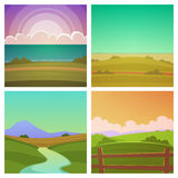 Cartoon Landscape Set Stock Photography