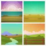 Cartoon Landscape Set Stock Photography