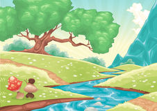 Cartoon landscape with stream Stock Photography
