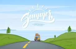 Cartoon landscape with travel car rides on the road and handwritten lettering of Summer. Vector illustration: Cartoon landscape with travel car rides on the Royalty Free Stock Photography