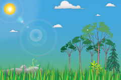 Cartoon Landscape. With trees in front of terms and grass and stones on a background of blue sky with white clouds and bright summer sun with reflections Royalty Free Stock Photography