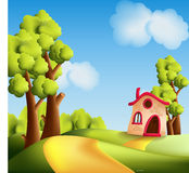 Cartoon landscape with trees Royalty Free Stock Image