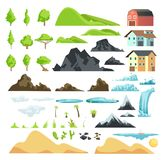 Cartoon landscape vector elements with mountains, hills, tropical trees and buildings. Hill and mountain nature illustration Stock Photos