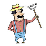 Cartoon landscaper with rake Stock Images
