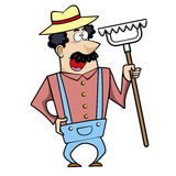 Cartoon landscaper with rake Stock Photography