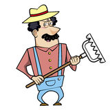 Cartoon Landscaper with Rake Stock Photo