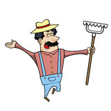 Cartoon Landscaper with Rake Royalty Free Stock Image