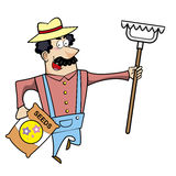 Cartoon Landscaper with Rake and Seed Bag Stock Images