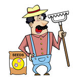Cartoon Landscaper with Rake and Seed Bag Stock Photos