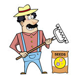 Cartoon Landscaper with Rake and Seed Bag Royalty Free Stock Photography