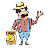 Cartoon Landscaper with Seed Bag Stock Photography
