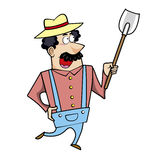 Cartoon landscaper with spade Royalty Free Stock Photography
