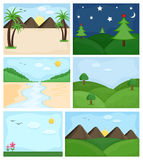 Cartoon Landscapes Vectors Stock Photography