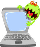 Cartoon Laptop attacking by virus Royalty Free Stock Image