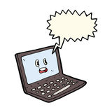 Cartoon laptop computer with speech bubble Stock Image