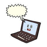 Cartoon laptop computer with speech bubble Royalty Free Stock Photos
