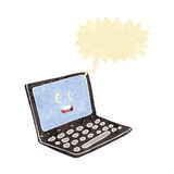 Cartoon laptop computer with speech bubble Stock Photo