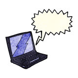 Cartoon laptop computer with speech bubble Royalty Free Stock Image