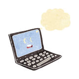 Cartoon laptop computer with thought bubble Stock Image