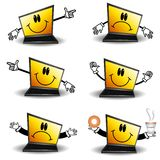 Cartoon Laptop Computers. An illustration featuring 6 different cartoonish laptop computers in various moods and poses including pointing, sad, happy, proud royalty free illustration