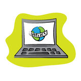 Cartoon laptop. On green background with Earth. Internet sign. Vector illustration Stock Image